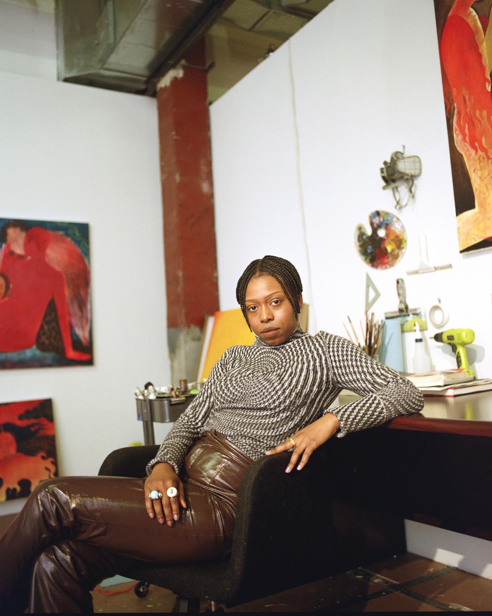Portrait Artist in residence Naudline Pierre in her studio.