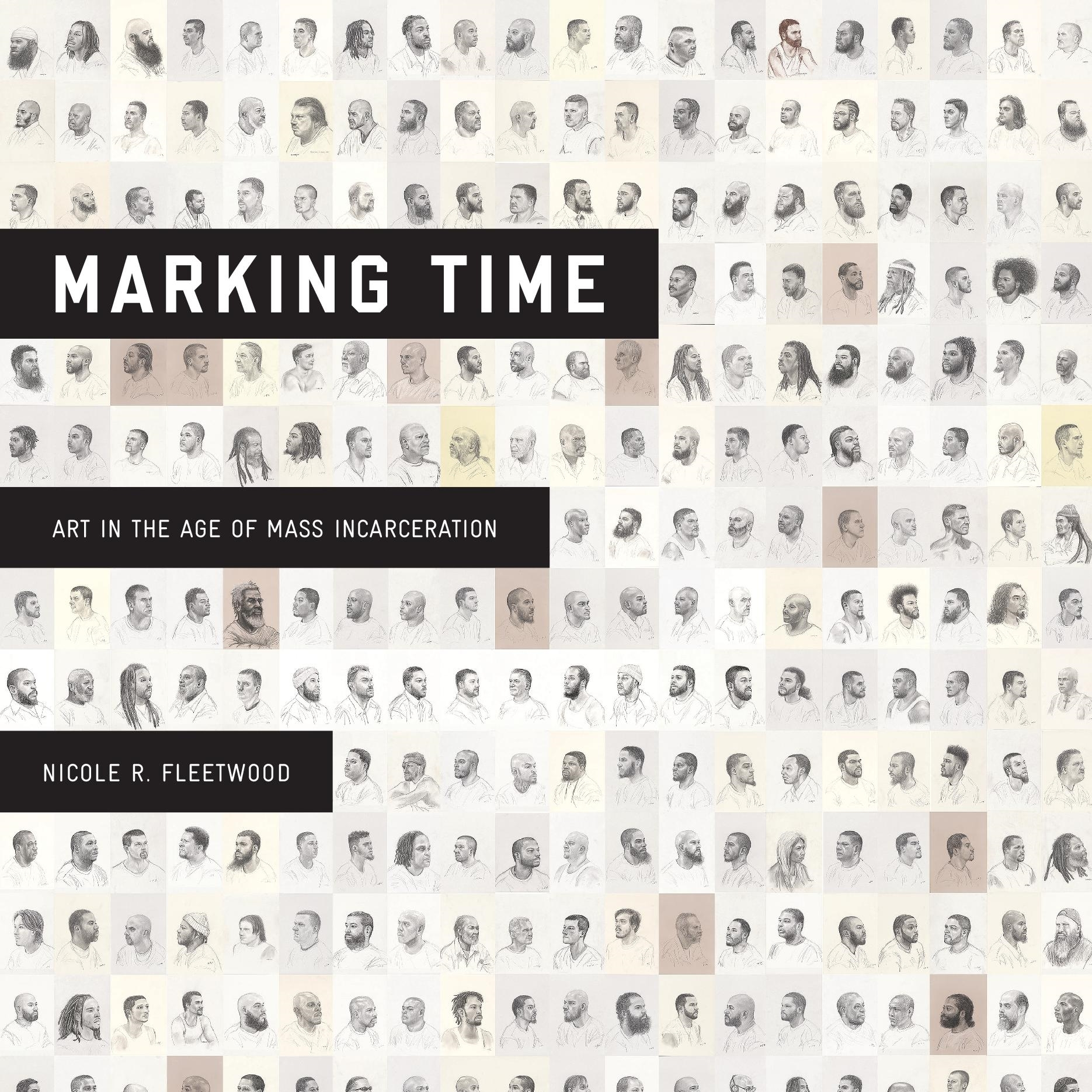 Marking Time's book cover; a grid of multiple small illustrated portraits of black men.