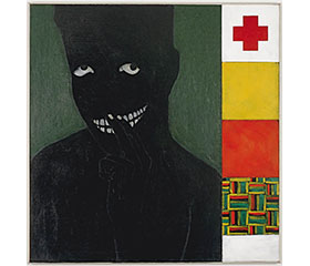 a black figure nearly invisible against a dark background, alongside the colors of pan-African ideology